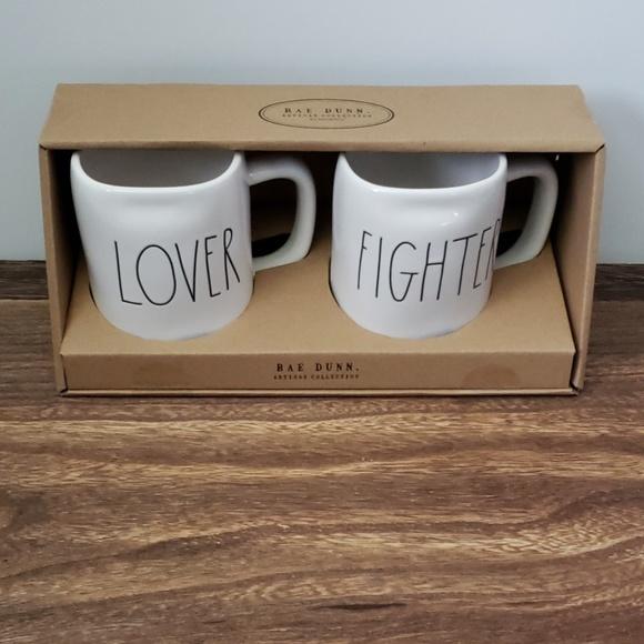 """Rae Dunn -  """"LOVER, FIGHTER"""" Mug Gift Set"""